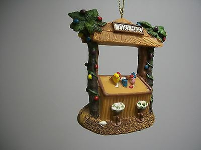Tropical Drinks Cocktails Beach Tiki Hut Bar Palm Trees XMas Lights Ornament NWT