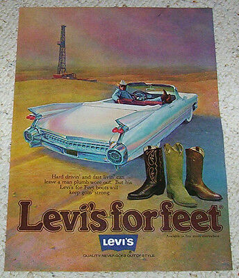 1978 ad page - Levi's for Feet cowboy boots car art artwork vintage Print ADVERT