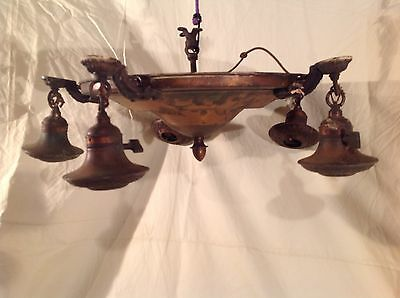 Antique Vintage Art Deco Victorian 5 Lamp Brass Electric Ceiling Fixture