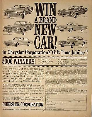 1961 Chrysler New Car Vintage Contest Ad! Vintage Automobile Advertisement!