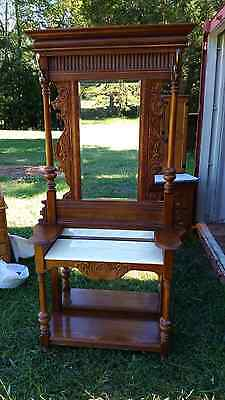 Vintage Hall Tree Antique Replica With Top And Bottom Mirror And Marble Top-6.8'