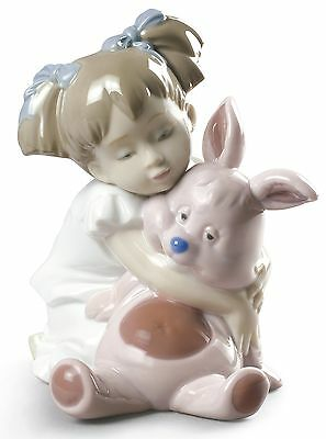 Nao by Lladro Porcelain How Soft You Are Girl with Pink Toy Figurine 02001880