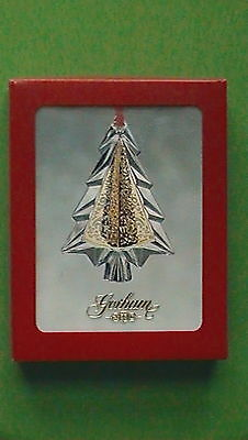 Gorham Lead Crystal And Gold Filigree Christmas Tree Ornament