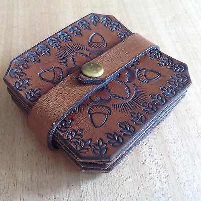 VINTAGE Boho TOOLED Acorns LEATHER COASTERS Set of 6 FUNKY