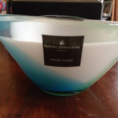 Royal Doulton - Mouth Blow Coloured Glass Bowl - Beautiful Blue Green Colour