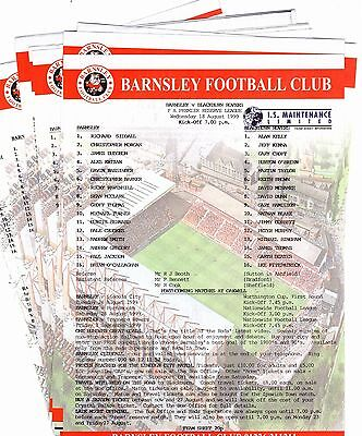 1999-2000 Barnsley Reserves Homes - select the one you want