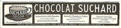 Chocolat Suchard Cocoa Cup That Cheers Swiss Chocolate 1901 Vintage Advert