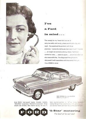 Ford Dagenham Consul de Luxe Saloon In Mind Woman Doctor 1957 Vintage Advert