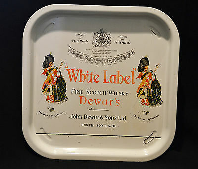 Dewar's White Label Scotch Whisky Metal Tray Scotland