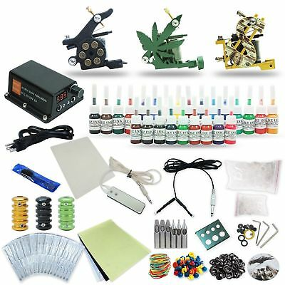 Complete Tattoo Kit 2 machine Gun 15 Color Inks Power Supply 20 Needles TK-23