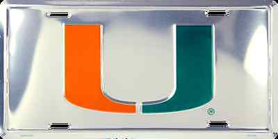 Miami Hurricanes Car Truck Tag Chrome License Plate Metal Sign University Canes