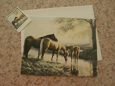 HORSES NOTE CARD  (Spring Morning) - Artwork by Persis Llayton Weirs - Brand New