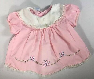 Vintage Mayfair Baby Girl Dress Pink Butterfly White Collar Infant Newborn