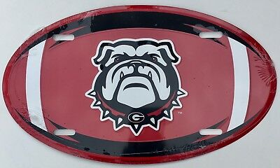 Georgia Bulldogs Car Truck Tag Oval Football License Plate Sign
