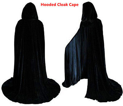 Christmas Party Long Velvet Black Hooded Cloak Cape Deluxe Vampire Fancy Dress