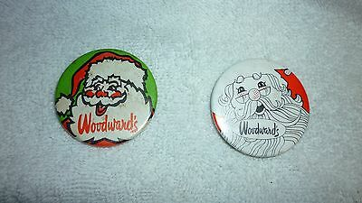 Two Vintage Vancouver Woodwards Department Store Santa Claus Pins Pinbacks