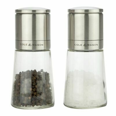 NEW COLE & MASON SALT AND PEPPER MILLS Mill Grinder Grind Grinding CLIFTON GLASS