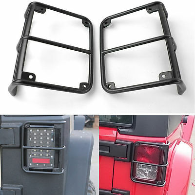 Black Rear Euro Tail Light Guard Cover Protector for Jeep Wrangler JK 07-17