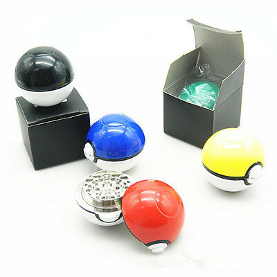 55mm 3 Piece Pokeball Pokemon Herb Spice Grinder Aluminum Herb Crusher With Box