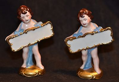Antique Victorian Hand Painted Fine Porcelain Dinner Place Card Holders Germany?