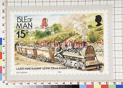 Isle of Man postcard Laxey Mine Railway Lewin Steam Engine