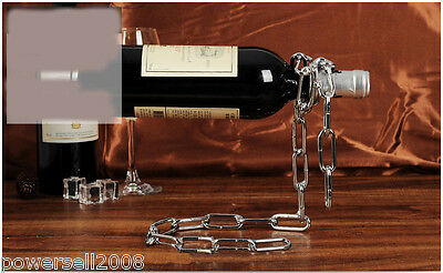 New European Creative Decoration Wrought Iron Suspended Chain Wine Rack &$