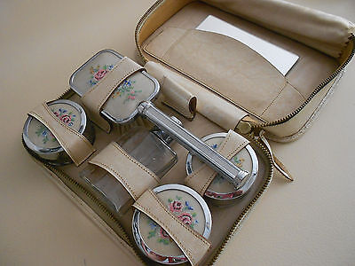 Antique/vintage Gorgeous Petit Point Dressing Table/travel Set In Leather Case