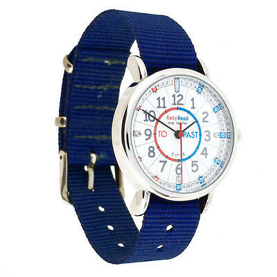 NEW! EasyRead Time Teacher Kids Watch Tell the Time Blue Band - Red/Blue Face