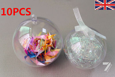 5CM Clear 2part Ball Christmas XMAS Tree Baubles Birthday Easter Ball Gift Boxed
