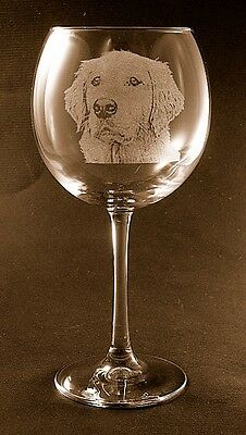 New Etched Golden Retriever on Large Elegant Wine Glasses