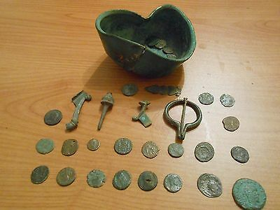 Roman Empire IV century bronze bowl (injured), items and bronze silver coins
