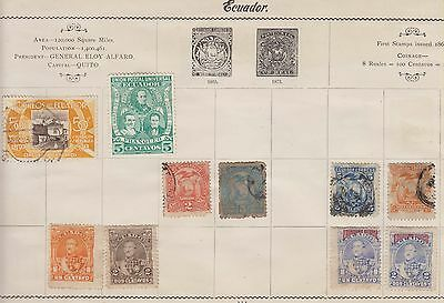 Ls120  Extremely Early Used Stamps From Ecuador On Old Album Page