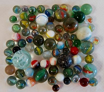 JOB LOT OF GLASS MARBLES - 500 grams MAINLY VINTAGE LOT A