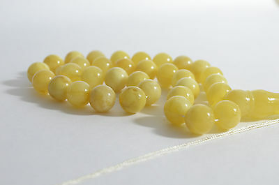 Misbaha Muslim Rosary Butterscotch and Milky color 33 Round Beads 14mm Handmade