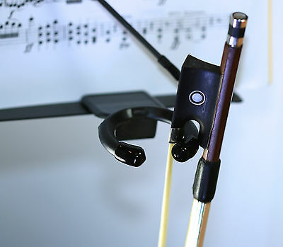 Plastic Clip On Violin, Viola, Bow Holder- Fits all metal Music Stands USA Made.