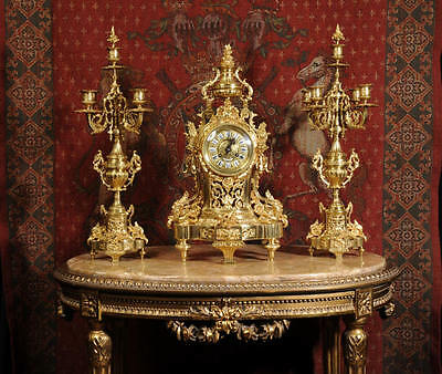 STUNNING LARGE ANTIQUE FRENCH GILT BRONZE CLASSICAL CLOCK SET by VINCENTI C1870
