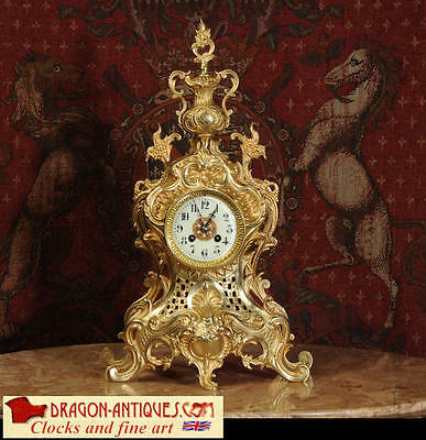 Xxl Original Antique French Gilt Brass Rococo Clock By Japy Freres 1880 Super
