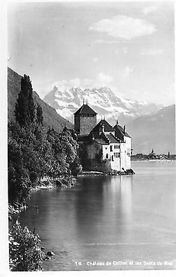 Switzerland - Chateau de Chillon et les Dents-du-Midi - Vintage Postcard