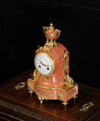 Diminutive Antique French Ormolu & Salmon Pink Marble Boudoir Desk Clock C1900