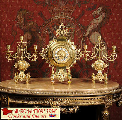 Antique French Gilt Brass Clock Set Chinese Moon Flask Design Unusual 1870