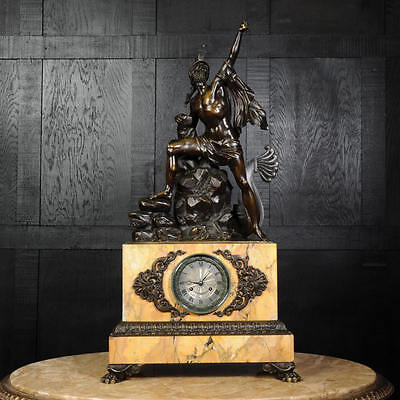 1830 Agamemnon Greek Hero Trojan War Huge Bronze Sienna Marble Clock Honore Pons