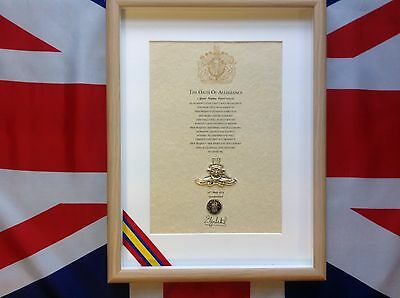 Royal Artillery British Army Oath Of Allegiance With Cap Badge And Shilling Coin