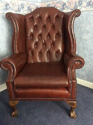 pair leather antique chairs