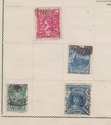 Ls123  Extremely Early Stamps From Uruguay On Old Album Page