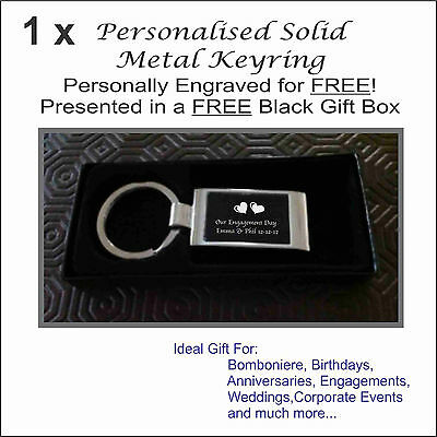 Personalised Engraved Metal Keyring in FREE Black Gift Box Wedding Bomboniere