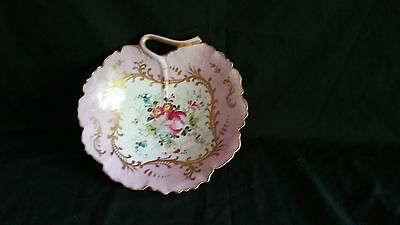 Antique Limoges Pink And White Bowl Dish With Pierced Handle