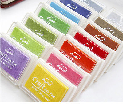 Stamp pad ink Blue pink black purple gold silver green red brown Solid Craft