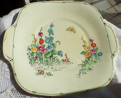 Art Deco Cake Plate Crown Staffordshire Art Deco 30s Hand Painted Floral England