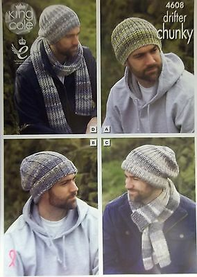 King Cole Chunky Hats and scarves Knitting Pattern  Mens 4 designs 4608