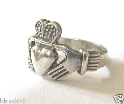 Very Solidly Made Sterling Silver Claddagh Ring - Size 8 1/2